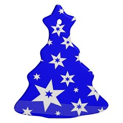 Star Background Pattern Advent Christmas Tree Ornament (two Sides)