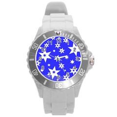Star Background Pattern Advent Round Plastic Sport Watch (l)