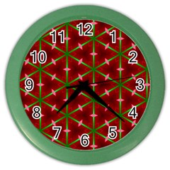 Textured Background Christmas Pattern Color Wall Clocks