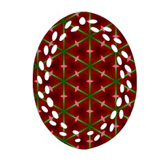 Textured Background Christmas Pattern Ornament (oval Filigree)