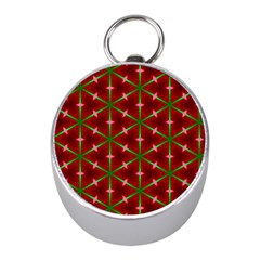 Textured Background Christmas Pattern Mini Silver Compasses