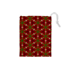 Textured Background Christmas Pattern Drawstring Pouches (small)