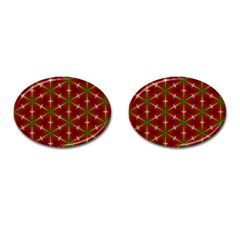 Textured Background Christmas Pattern Cufflinks (oval)