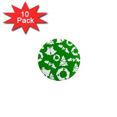Green White Backdrop Background Card Christmas 1  Mini Magnet (10 Pack)