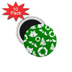 Green White Backdrop Background Card Christmas 1 75  Magnets (10 Pack)