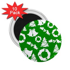 Green White Backdrop Background Card Christmas 2 25  Magnets (10 Pack)