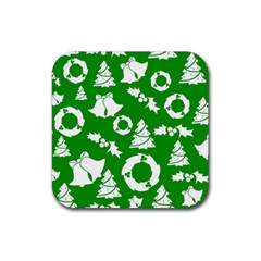 Green White Backdrop Background Card Christmas Rubber Coaster (square)