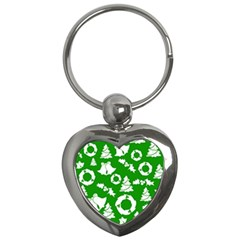 Green White Backdrop Background Card Christmas Key Chains (heart)