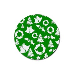 Green White Backdrop Background Card Christmas Rubber Coaster (round)