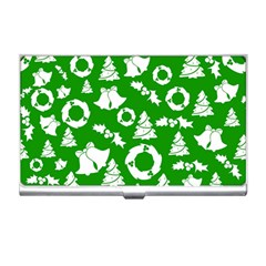 Green White Backdrop Background Card Christmas Business Card Holders