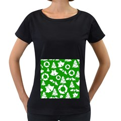 Green White Backdrop Background Card Christmas Women s Loose Fit T Shirt (black)