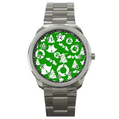 Green White Backdrop Background Card Christmas Sport Metal Watch