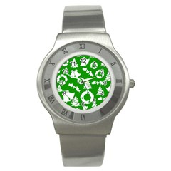 Green White Backdrop Background Card Christmas Stainless Steel Watch