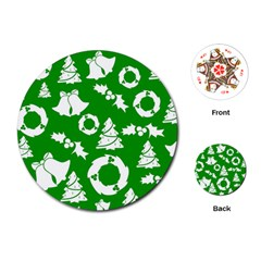 Green White Backdrop Background Card Christmas Playing Cards (round)