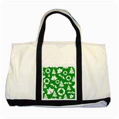 Green White Backdrop Background Card Christmas Two Tone Tote Bag