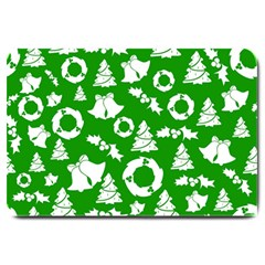 Green White Backdrop Background Card Christmas Large Doormat