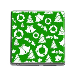 Green White Backdrop Background Card Christmas Memory Card Reader (square)