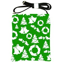 Green White Backdrop Background Card Christmas Shoulder Sling Bags