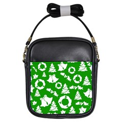 Green White Backdrop Background Card Christmas Girls Sling Bags