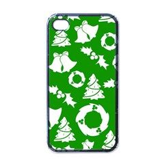 Green White Backdrop Background Card Christmas Apple Iphone 4 Case (black)