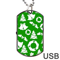 Green White Backdrop Background Card Christmas Dog Tag Usb Flash (two Sides)