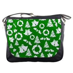 Green White Backdrop Background Card Christmas Messenger Bags