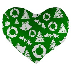 Green White Backdrop Background Card Christmas Large 19  Premium Heart Shape Cushions