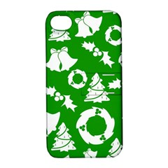 Green White Backdrop Background Card Christmas Apple Iphone 4/4s Hardshell Case With Stand