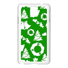 Green White Backdrop Background Card Christmas Samsung Galaxy Note 3 N9005 Case (white)