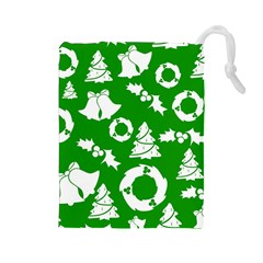 Green White Backdrop Background Card Christmas Drawstring Pouches (large)