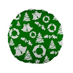 Green White Backdrop Background Card Christmas Standard 15  Premium Flano Round Cushions