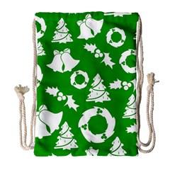 Green White Backdrop Background Card Christmas Drawstring Bag (large)