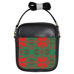 Christmas Background Girls Sling Bags