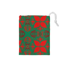 Christmas Background Drawstring Pouches (small)
