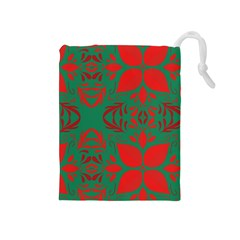 Christmas Background Drawstring Pouches (medium)