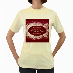 Christmas Card Red Snowflakes Women s Yellow T Shirt