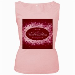 Christmas Card Red Snowflakes Women s Pink Tank Top