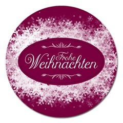 Christmas Card Red Snowflakes Magnet 5  (round)