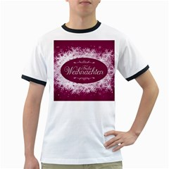 Christmas Card Red Snowflakes Ringer T Shirts