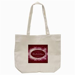 Christmas Card Red Snowflakes Tote Bag (cream)