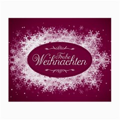 Christmas Card Red Snowflakes Small Glasses Cloth