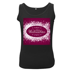 Christmas Card Red Snowflakes Women s Black Tank Top