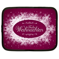 Christmas Card Red Snowflakes Netbook Case (xl)