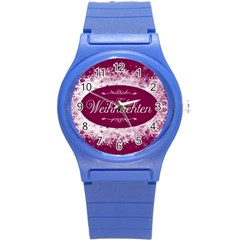 Christmas Card Red Snowflakes Round Plastic Sport Watch (s)