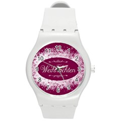 Christmas Card Red Snowflakes Round Plastic Sport Watch (m)