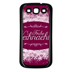 Christmas Card Red Snowflakes Samsung Galaxy S3 Back Case (black)