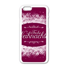 Christmas Card Red Snowflakes Apple Iphone 6/6s White Enamel Case