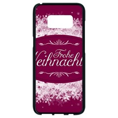 Christmas Card Red Snowflakes Samsung Galaxy S8 Black Seamless Case