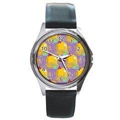 Seamless Repeat Repeating Pattern Round Metal Watch