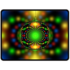 Christmas Ornament Fractal Fleece Blanket (large)